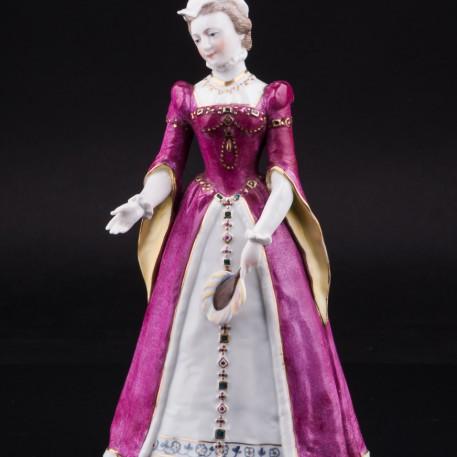 Фигурка из фарфора Дама с веером в средневековом платье, Дрезден, Германия, сер. 20 в.