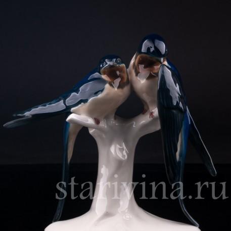 Фигурка птиц из фарфора Ласточки, Volkstedt, Германия, кон. 19 - нач. 20 вв.