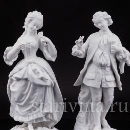 Парные фарфоровые статуэтки из бисквита За десертом, Франция,, 19 в.