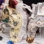 Большая фарфоровая композиция У рояля, кружевная, Volkstedt, Германия, вт. пол. 20 в.