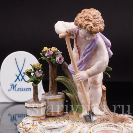 Антикварная статуэтка Аллегория земли, путти с лопатой, Meissen, Германия, сер. 19 - нач. 20 вв.