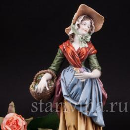 Фарфоровая статуэтка девушки Цветочница, Германия, кон. 19 - нач. 20 вв.